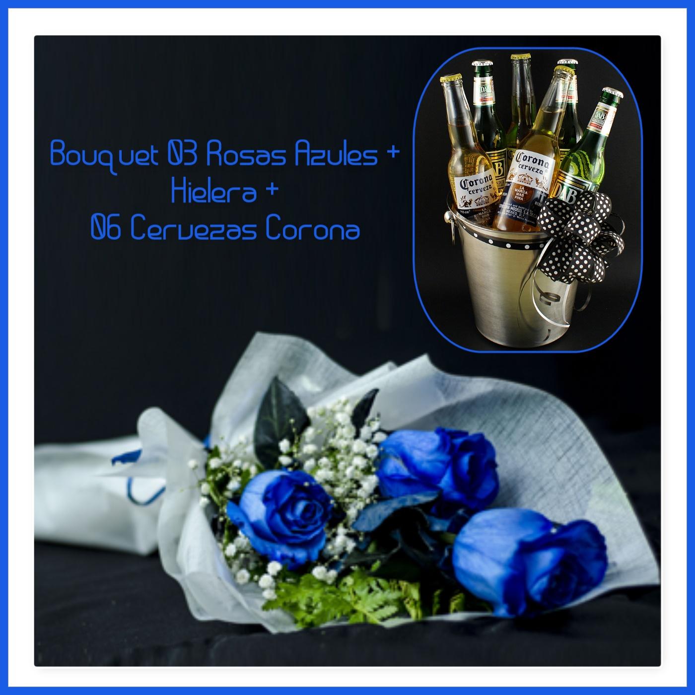 Bouquet De 03 Rosas Azules Hielera 06 Cervezas Corona Florería