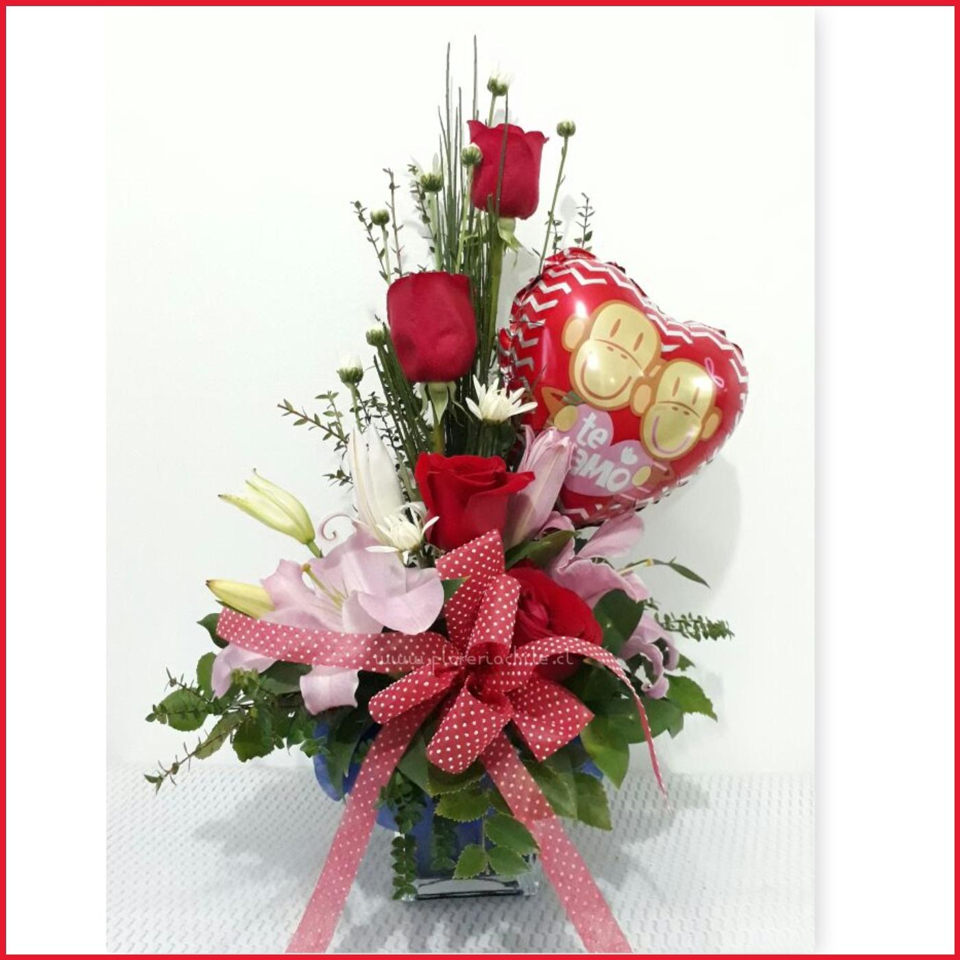 Arreglo Floral 04 Rosas Y Liliums Globo Metalico