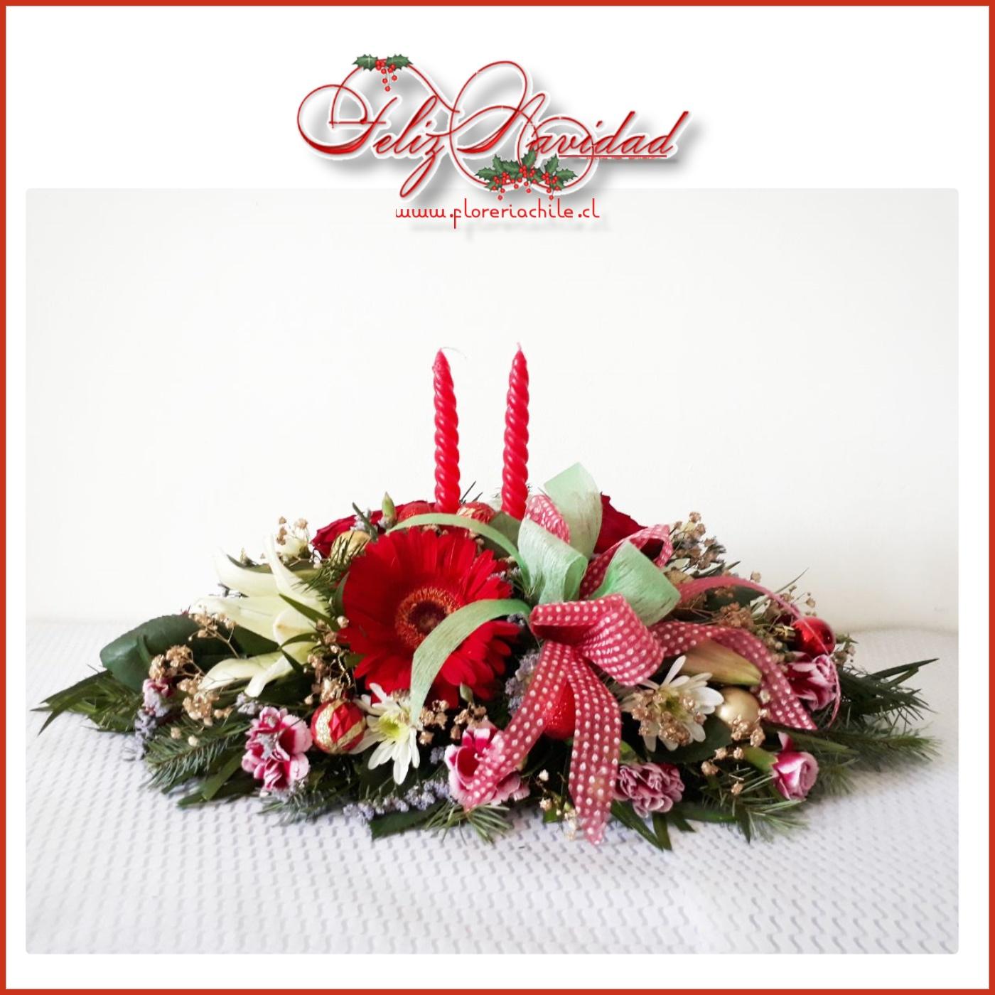 Arreglo Floral Navideño Con Gerberas