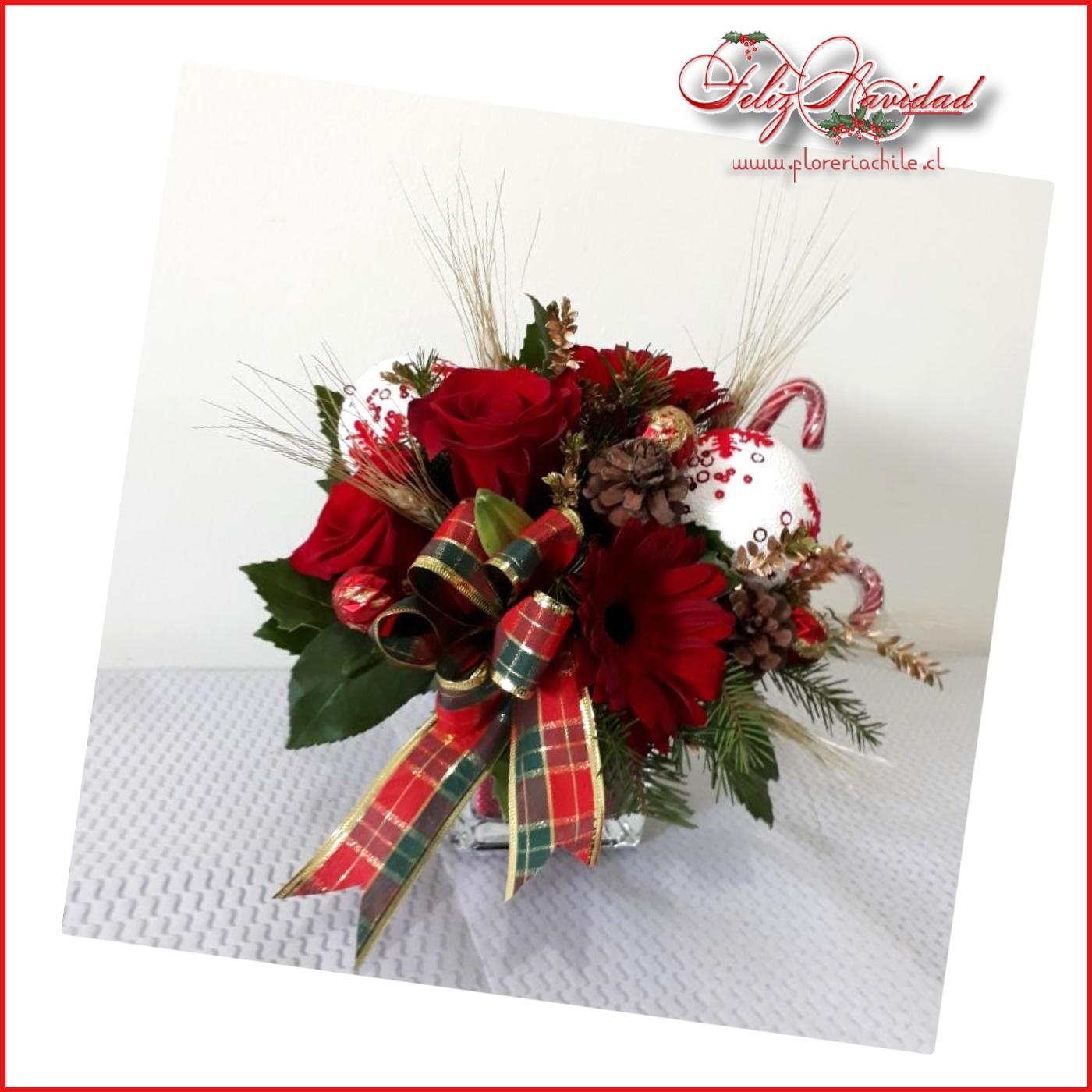 Arreglo Floral Navideño En Base De Vidrio
