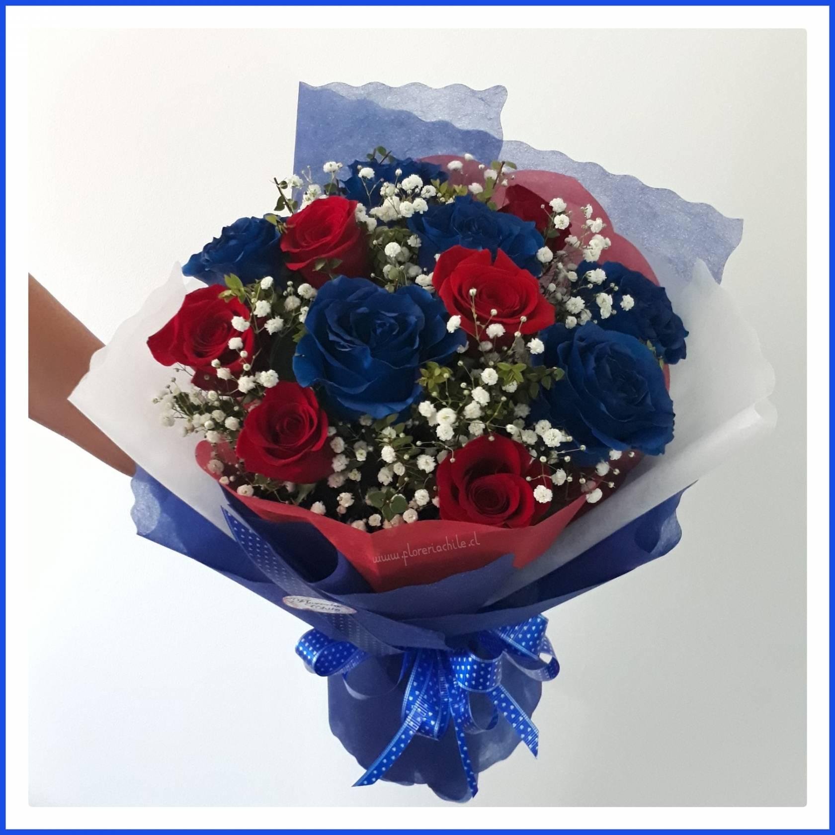 Bouquet De 12 Rosas Azules Y Rojas Florería Chile