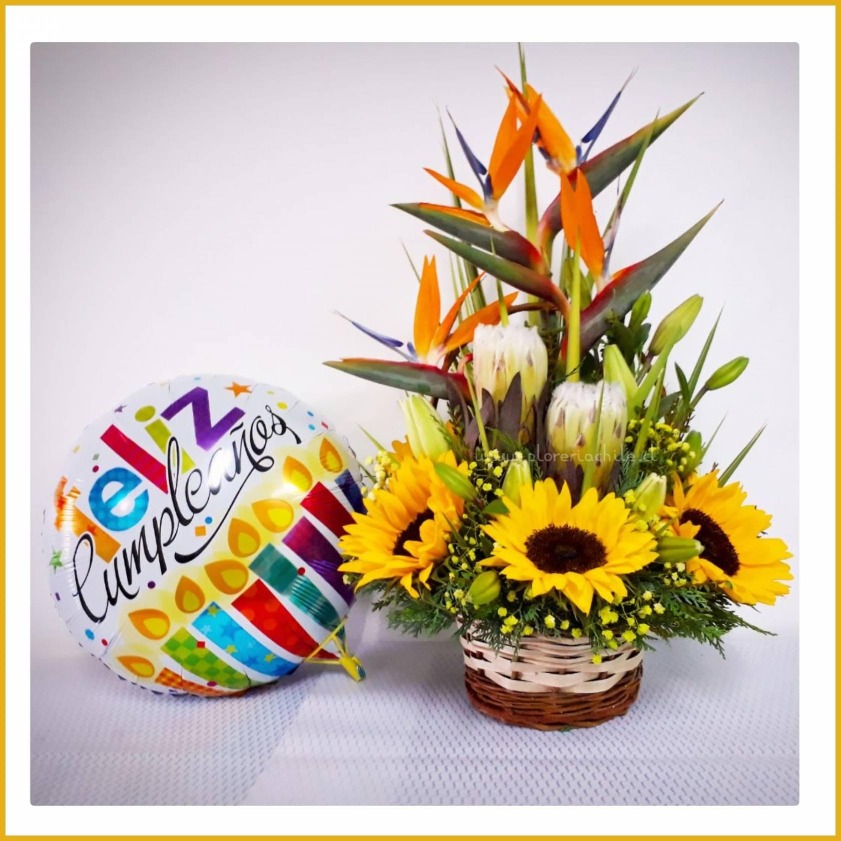 Arreglo Floral De Girasoles Y Flores Variadas Globo Metálico